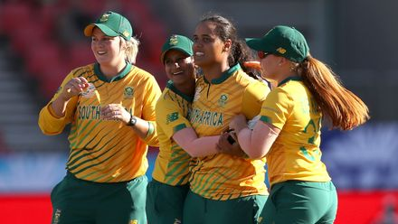Chloe Tryon of South Africa celebrates with her team mates after the run out Javeria Khan of Pakistan during the ICC Women's T20 Cricket World Cup match between South Africa and Pakistan at Sydney Showground Stadium on March 01, 2020 in Sydney, Australia.