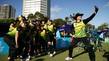 All smiles as Australia celebrate their semi-final spot
