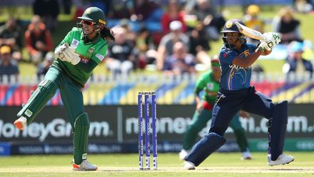 Anushka Sanjeewani of Sri Lanka bats during the ICC Women's T20 Cricket World Cup match between Sri Lanka and Bangladesh at Junction Oval on March 02, 2020 in Melbourne, Australia.
