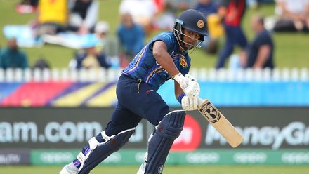Chamari Athapaththu of Sri Lanka bats during the ICC Women's T20 Cricket World Cup match between Sri Lanka and Bangladesh at Junction Oval on March 02, 2020 in Melbourne, Australia.