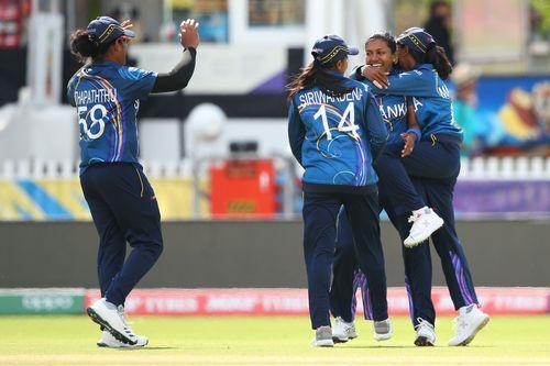 Achini Kulasooriya of Sri Lanka celebrates after dismissing Ayasha Rahman of Bangladesh during the ICC Women's T20 Cricket World Cup match between Sri Lanka and Bangladesh at Junction Oval on March 02, 2020 in Melbourne, Australia.