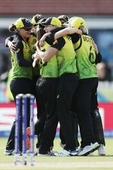 Georgia Wareham of Australia celebrates taking the wicket of Suzie Bates of New Zealand during the ICC Women's T20 Cricket World Cup match between Australia and New Zealand at Junction Oval on March 02, 2020 in Melbourne, Australia.