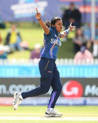 Achini Kulasooriya of Sri Lanka celebrates after dismissing Ayasha Rahman of Bangladesh during the ICC Women's T20 Cricket World Cup match between Sri Lanka and Bangladesh at Junction Oval on March 02, 2020 in Melbourne, Australia.