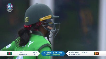 WT20WC: SL v BAN - Joty and Khatun end up at the same end