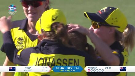WT20WC: Aus v NZ - Wareham gets another huge wicket, this time Devine goes