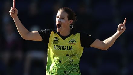 Megan Schutt of Australia celebrates taking the wicket of Anna Peterson of New Zealand during the ICC Women's T20 Cricket World Cup match between Australia and New Zealand at Junction Oval on March 02, 2020 in Melbourne, Australia.