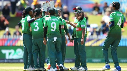 Nahida Akter of Bangladesh celebrates with teammates after dismissing Chamari Atapattu of Sri Lanka during the ICC Women's T20 Cricket World Cup match between Sri Lanka and Bangladesh at Junction Oval on March 02, 2020 in Melbourne, Australia.