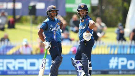 Hasini Madushika (l) and Chamari Athapaththu of Sri Lanka talk during the ICC Women's T20 Cricket World Cup match between Sri Lanka and Bangladesh at Junction Oval on March 02, 2020 in Melbourne, Australia.