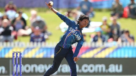 Kaveesha Dilhari of Sri Lanka bowls during the ICC Women's T20 Cricket World Cup match between Sri Lanka and Bangladesh at Junction Oval on March 02, 2020 in Melbourne, Australia.