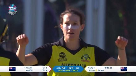 WT20WC: Aus v NZ - Megan Schutt takes her first wicket of the semi-final