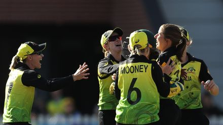 Georgia Wareham of Australia celebrates with team mates after taking the wicket of Sophie Devine of New Zealand during the ICC Women's T20 Cricket World Cup match between Australia and New Zealand at Junction Oval on March 02, 2020.