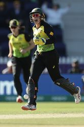 Alyssa Healy of Australia celebrates taking the wicket of Maddy Green of New Zealand by stumping off the bowling of Georgia Wareham of Australia during the ICC Women's T20 Cricket World Cup match between Australia and New Zealand at Junction Oval.