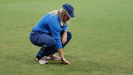 Dane Van Niekerk of South Africa inspects the pitch during a rain delay in the ICC Women's T20 Cricket World Cup match between the West Indies and South Africa at Sydney Showground Stadium on March 03, 2020 in Sydney, Australia.