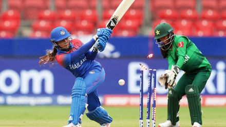 Chanida Sutthiruang of Thailand is bowled by Nida Dar of Pakistan during the ICC Women's T20 Cricket World Cup match between Pakistan and Thailand at Sydney Showground Stadium on March 03, 2020 in Sydney, Australia.