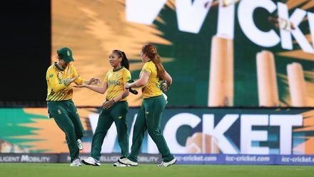 Shabnim Ismail of South Africa celebrates with team mates after taking a catch to dismiss Jess Jonassen of Australia during the ICC Women's T20 Cricket World Cup Semi Final match between Australia and South Africa on March 05, 2020.