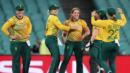 Nadine de Klerk of South Africa celebrates with team mates after taking the wicket of Ashleigh Gardner of Australia during the ICC Women's T20 Cricket World Cup Semi Final match between Australia and South Africa on March 05, 2020.