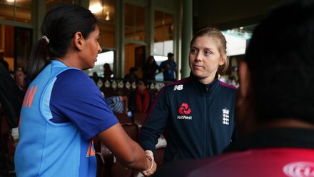 Captains Harmanpreet Kaur of India and Heather Knight of England shake hands after play was abandoned due to rain during the ICC Women's T20 Cricket World Cup Semi Final match between India and England at Sydney Cricket Ground on March 05, 2020.