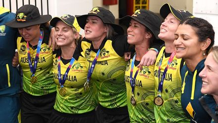 The Australian team sings the song in the rooms after winning the ICC Women's T20 Cricket World Cup Final match between India and Australia at the Melbourne Cricket Ground on March 08, 2020 in Melbourne, Australia.