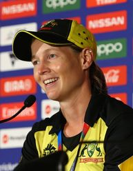 Meg Lanning of Australia speaks to the media after winning the ICC Women's T20 Cricket World Cup Final match between India and Australia at the Melbourne Cricket Ground on March 08, 2020 in Melbourne, Australia.