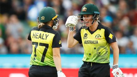 Beth Mooney and Alyssa Healy of Australia speak during the ICC Women's T20 Cricket World Cup Final match between India and Australia at the Melbourne Cricket Ground on March 08, 2020 in Melbourne, Australia.