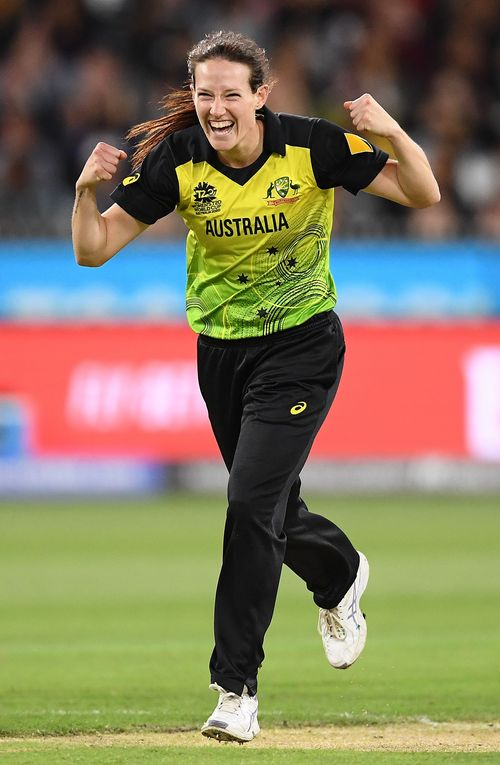 Megan Schutt of Australia celebrate getting a wicket during the ICC Women's T20 Cricket World Cup Final match between India and Australia at the Melbourne Cricket Ground on March 08, 2020 in Melbourne, Australia.