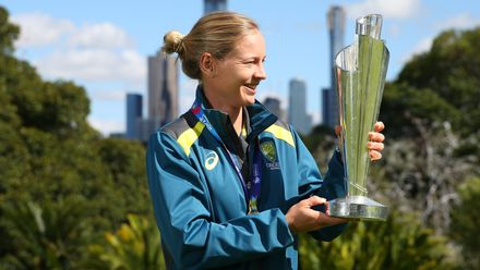 Meg Lanning poses with the 2020 ICC Women's T20 World Cup trophy after winning the Final, at the Royal Botanic Gardens on March 09, 2020 in Melbourne, Australia.