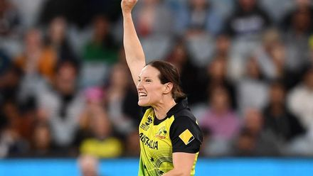 Megan Schutt of Australia celebrate getting the wicket of Shafali Verma of India during the ICC Women's T20 Cricket World Cup Final match between India and Australia at the Melbourne Cricket Ground on March 08, 2020 in Melbourne, Australia.