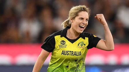 Sophie Molineux of Australia celebrates dismissing Smriti Mandhana of India during the ICC Women's T20 Cricket World Cup Final match between India and Australia at the Melbourne Cricket Ground on March 08, 2020 in Melbourne, Australia.