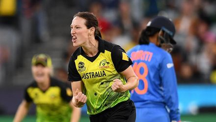 Megan Schutt of Australia celebrates getting the wicket of Shafali Verma of India during the ICC Women's T20 Cricket World Cup Final match between India and Australia at the Melbourne Cricket Ground on March 08, 2020 in Melbourne, Australia.