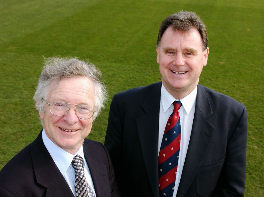 Frank Duckworth (left) and Tony Lewis co-developed the Duckworth-Lewis-Stern system of calculating target scores in rain-affected matches