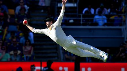 Shortlist - Darren England: Kurtis Patterson of Australia is seen diving to take a catch to dismiss Dilruwan Perera of Sri Lanka off the bowling of Pat Cummins on Day 3 of the first Test between Australia and Sri Lanka at The Gabba