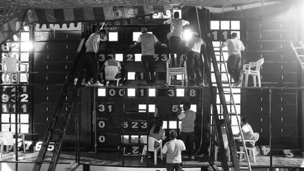 Shortlist - Rob Cianflone: A general view of the scoreboard operators during the one-day international between India and Australia at Rajiv Gandhi International Cricket Stadium
