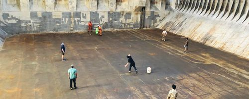 Cargo ship cricket, enroute Netherlands to Morocco. Seafarers from seven different nationalities gathered to play cricket in their workstation. Photo credit:Sarker Mohiuddin Hasnat Lenin