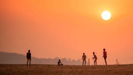 Children of fishermen play cricket at sunset. Location: Katkuru, Velairpadu, Andhra Pradesh, India. Photo credit: Abdul Munaff