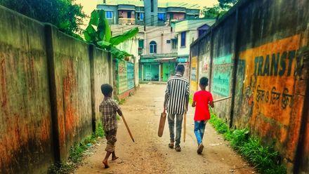 Time to play street cricket. Location: Brahmanbaria, Bangladesh. Photo credit: Abdullah Al Mamun