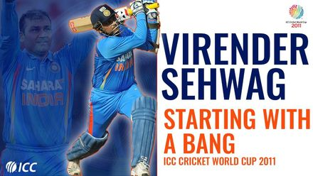 Virender Sehwag: Five games, five first-ball boundaries | Men's CWC 2011