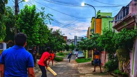 The floodlights are just beginning to take effect. Location: Nagpur, India. Photo credit: Akash Mohare