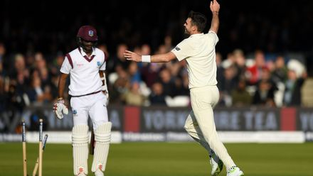 Kraigg Brathwaite is clean bowled as Jimmy moves to 500 Test wickets – 7 September 2017