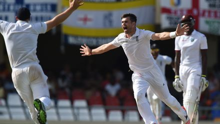 Anderson goes top of England's all-time Test wicket-takers, dismissing Dinesh Ramdin to move past Ian Botham's 383 wickets – 17 April 2015