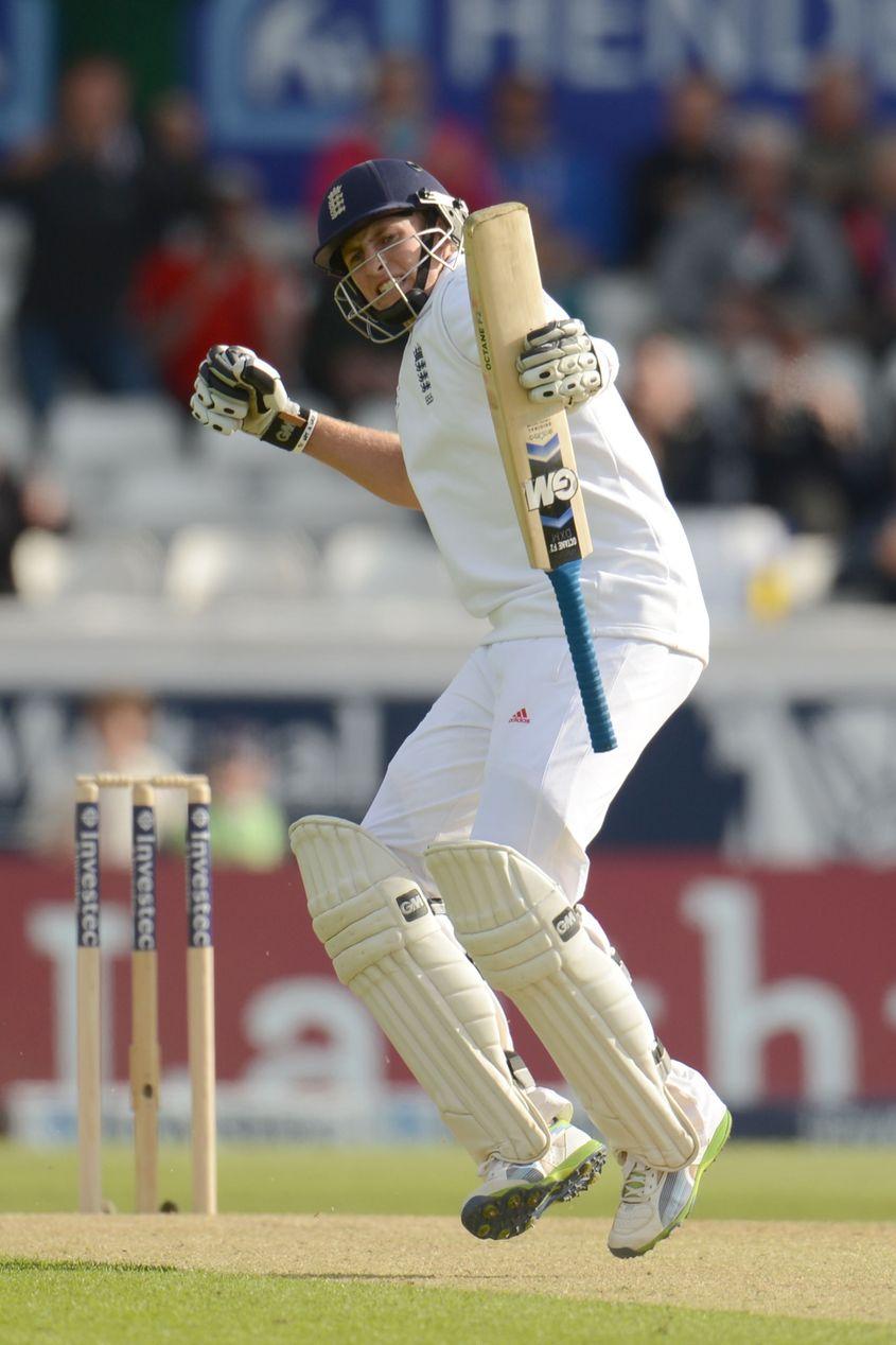 Joe Root brings up his maiden Test century.
