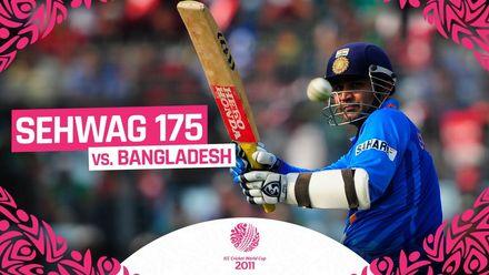 Virender Sehwag smashes 175 at the 2011 CWC v Bangladesh