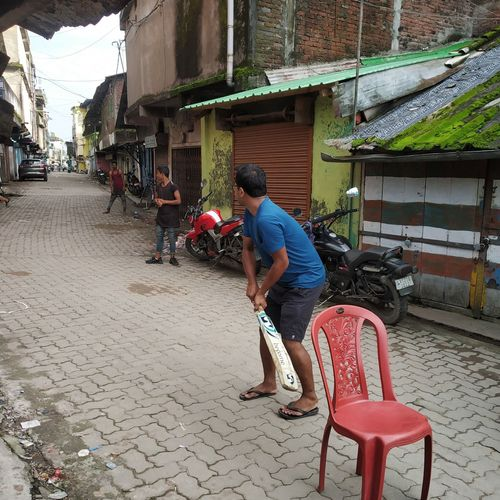 Gully cricket. Location: Tinsukia, Assam, India. Photo credit: Manab Jyoti Gogoi