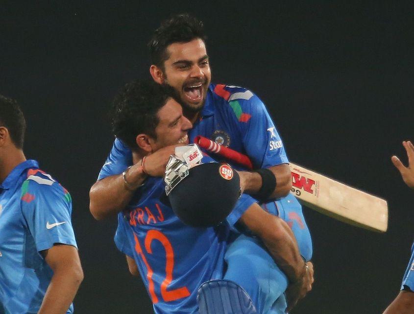 Virat Kohli celebrates his innings against South Africa.