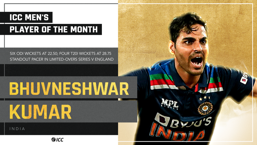 Bhuvneshwar Kumar: ICC Men's Player of the Month for March 2021