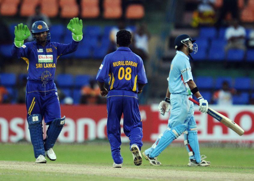 Muttiah Muralitharan removed Gautam Gambhir to go past Wasim Akram's ODI record.