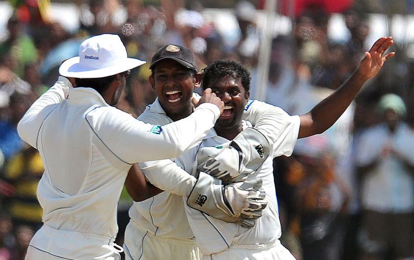 Muttiah Muralitharan celebrates his 800th Test wicket.