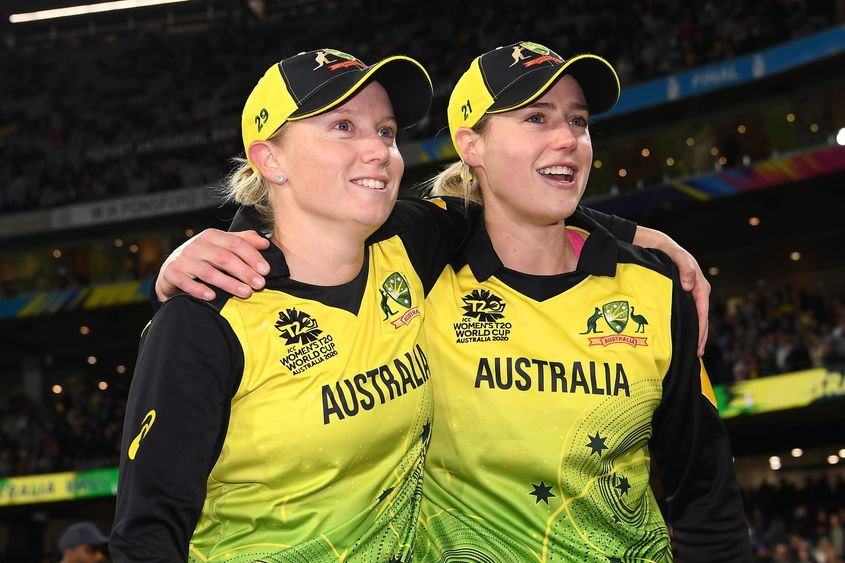 Two of the three stars to have played 200 matches for Australia's women's team.