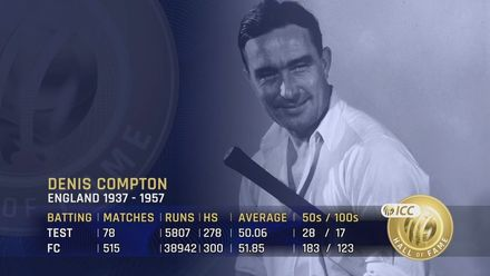 ICC Hall of Fame: Denis Compton | 'An absolutely brilliant batsman'