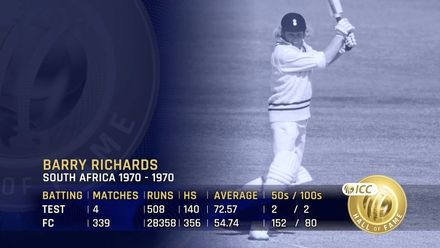 ICC Hall of Fame: Barry Richards | 'Beautiful technician, organised, skillful'