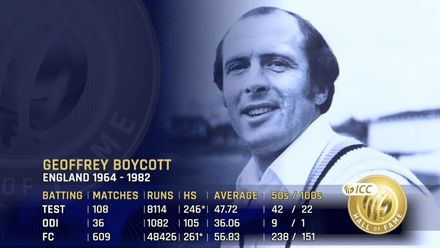 ICC Hall of Fame: Geoffrey Boycott | 'Figure silhouetted out of the coaching manuals'